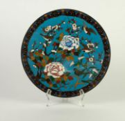 JAPANESE MEIJI PERIOD CLOISONNÉ WALL PLAQUE, of typical form, decorated in colours with birds and