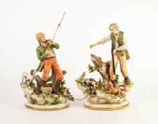 TWO CAPO DIMONTE PORCELAIN GROUPS, comprising: ?LA SORPRESA?, modelled as an aged huntsman with