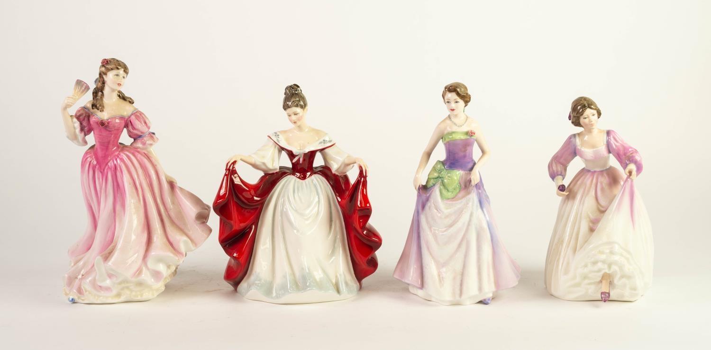FOUR ROYAL DOULTON CHINA FIGURES, comprising: SARA (HN2265), LAUREN (HN3975), JESSICA (HN3850) and