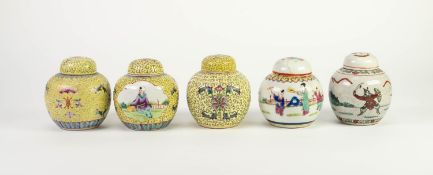 FIVE MODERN CHINESE PORCELAIN GINGER JARS AND COVERS, all of typical form, three with yellow grounds