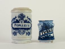 TWO LATE NINETEENTH/ EARLY TWENTIETH CENTURY CONTINENTAL BLUE AND WHITE DELFT POTTERY APOTHECARY