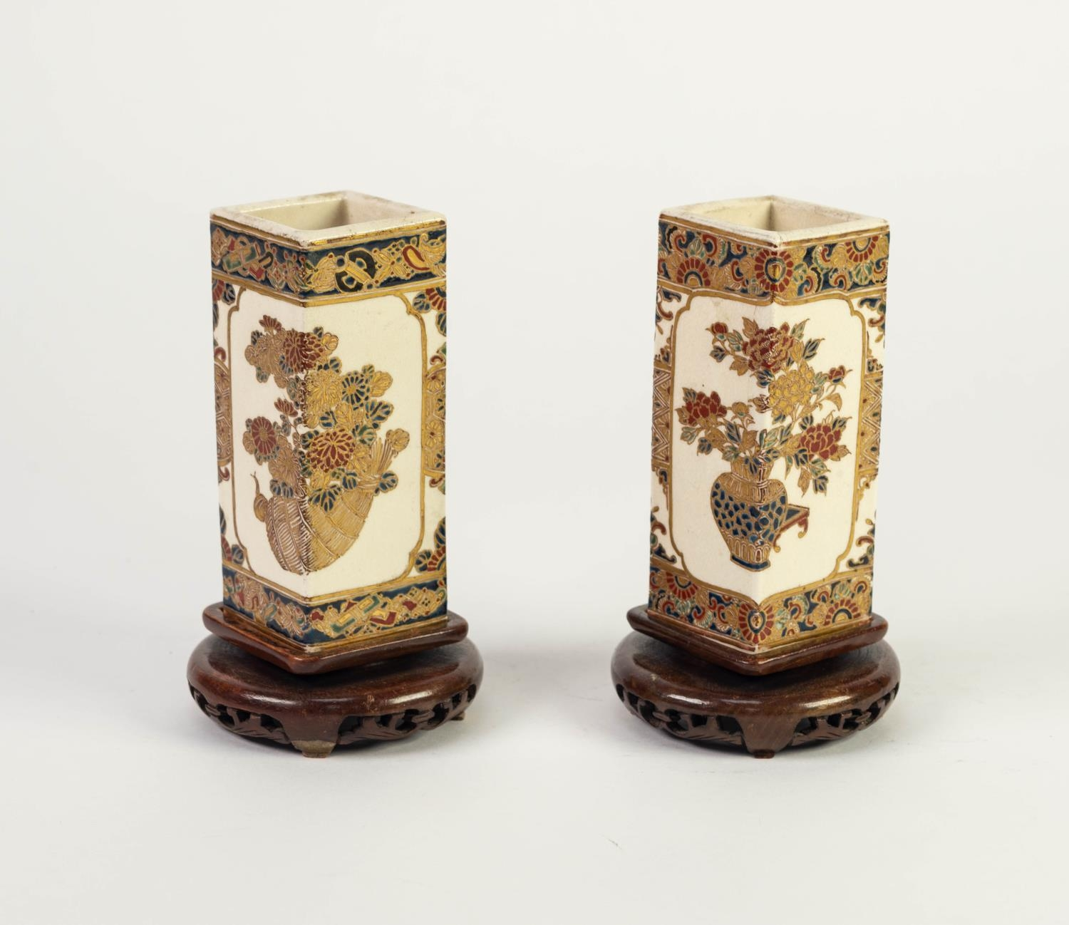 PAIR OF JAPANESE MEIJI PERIOD SATSUMA POTTERY SQUARE SECTION SMALL VASES, each painted with - Image 2 of 4