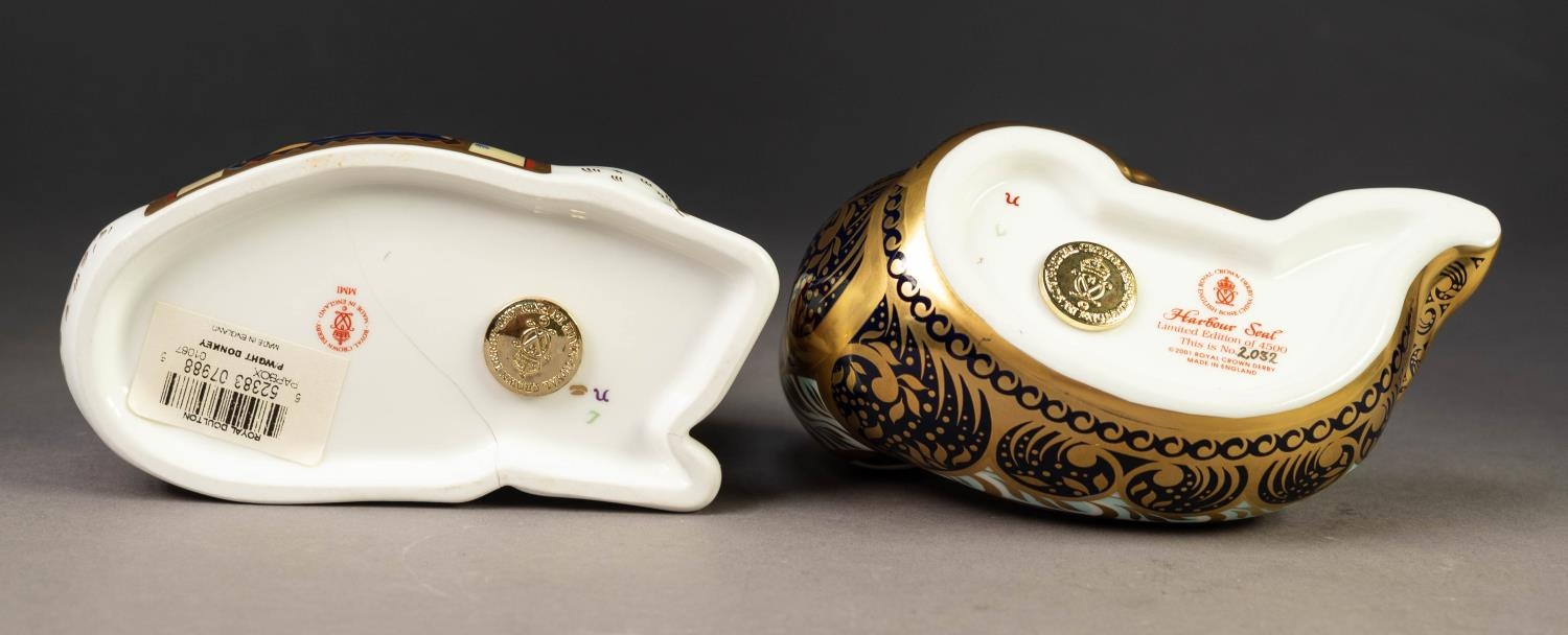 TWO MODERN ROYAL CROWN DERBY IMARI CHINA PAPERWEIGHTS, ?HARBOUR SEAL? and ?DONKEY?, both with gilt - Image 3 of 3