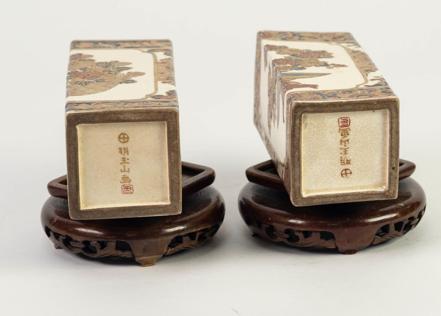 PAIR OF JAPANESE MEIJI PERIOD SATSUMA POTTERY SQUARE SECTION SMALL VASES, each painted with - Image 4 of 4