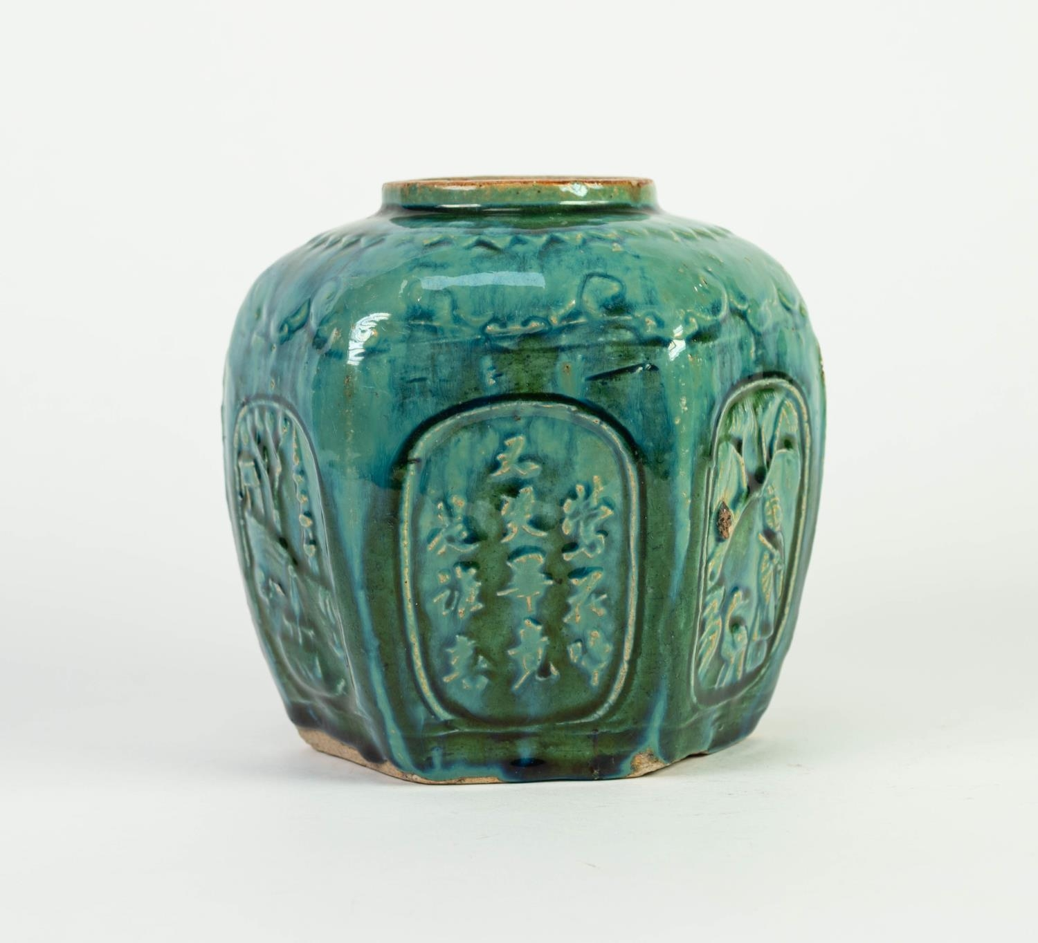 CHINESE PROVINCIAL WARE MOULDED POTTERY GINGER JAR, of hexagonal form, decorated with panels - Image 2 of 5