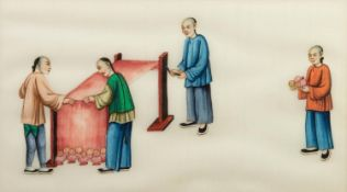 PAIR OF CHINESE WATERCOLOURS ON RICE PAPER, each depicting stages I fabric dyeing, 6 ½? x 11 ¼? (