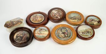 COLLECTION OF EIGHT NINETEENTH CENTURY CIRCULAR POMADE PRINTED POTTERY LIDS IN WOODEN FRAMES,