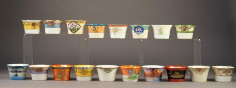 COLLECTION OF 18 NORITAKE JAPANESE PORCELAIN FLARED CIRCULAR SUGAR BOWLS, all the same shape but all