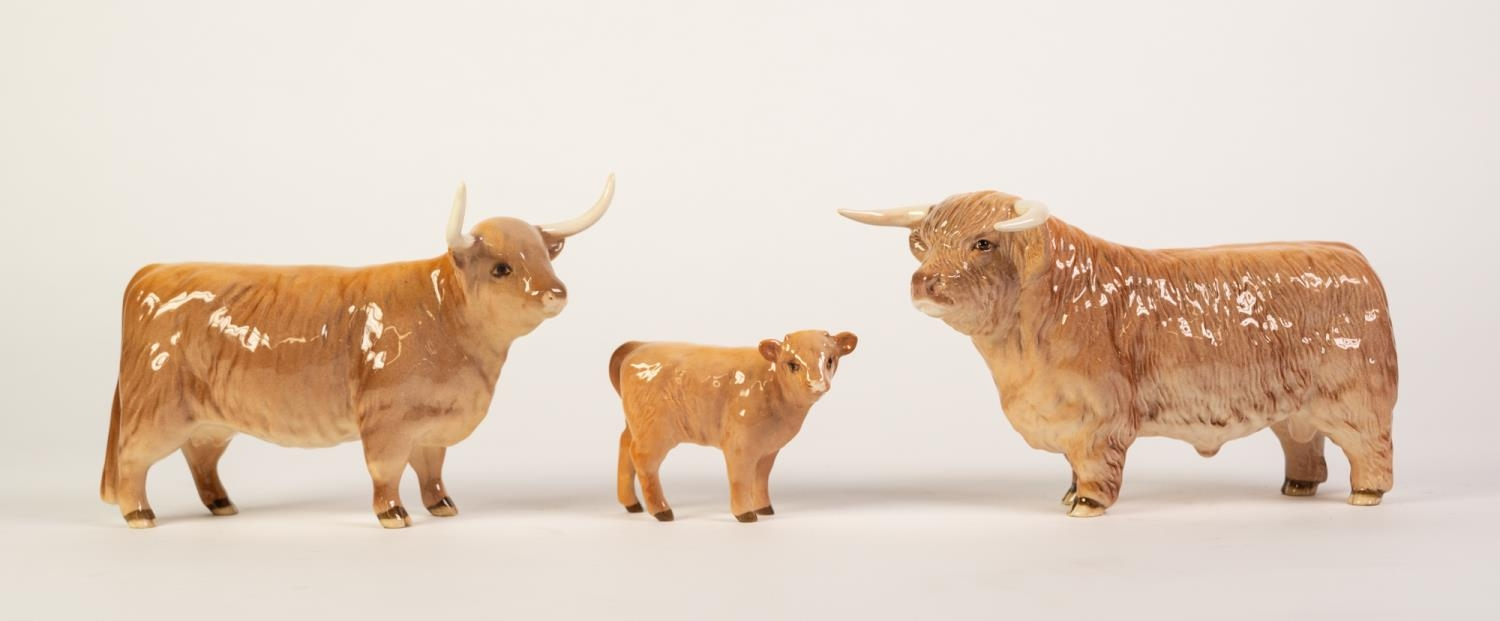 BESWICK GLOSS CHINA FAMILY OF HIGHLAND LONGHORN CATTLE, comprising: BULL (2008), COW (1740) and CALF