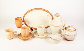 TEN PIECES OF DAVID LEACH STYLE POTTERY WITH THICK WHITE GLAZE, comprising: TEA KETTLE, COFFEE