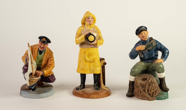 THREE ROYAL DOULTON CHINA FIGURES, comprising: LIFEBOAT MAN (HN4570), THE LOBSTER MAN (HN2317) and