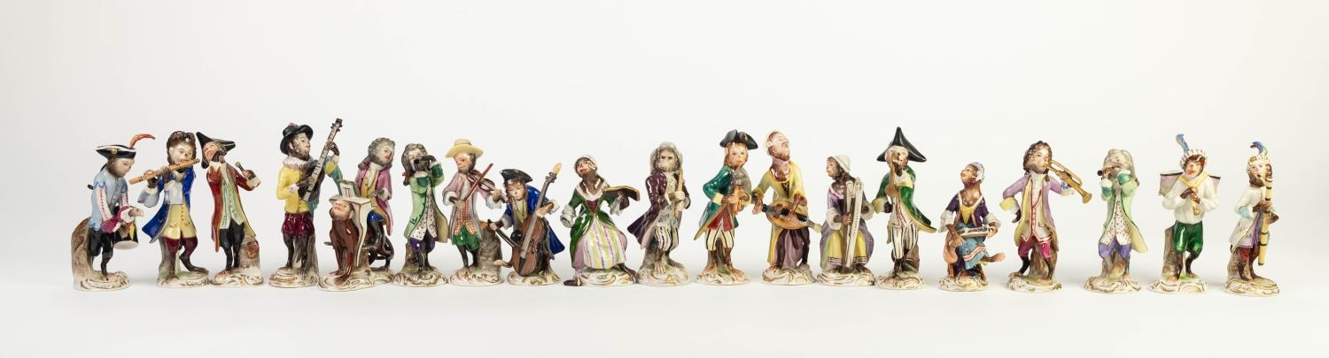 MOSTLY POST WAR, NINETEEN PIECE GERMAN PORCELAIN MONKEY BAND, the majority probably Volkstedt,