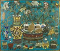 CHINESE QING DYNASTY, POSSIBLY QIAN LONG CLOISONNÉ PANEL, of oblong form, decorated in colours