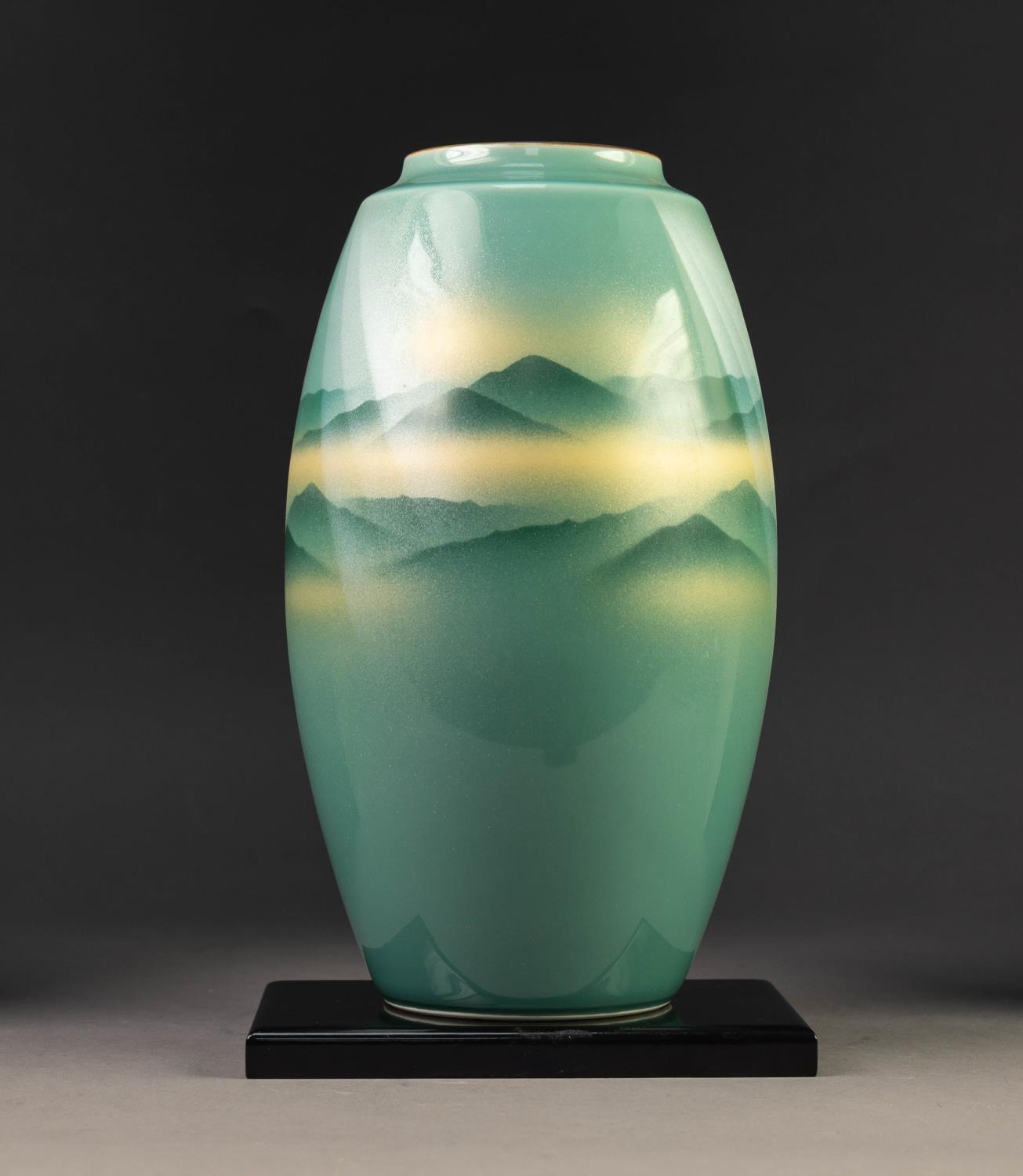 MODERN JAPANESE KUTANI WARE PORCELAIN VASE, of ovoid form, decorated in sprayed shades of green