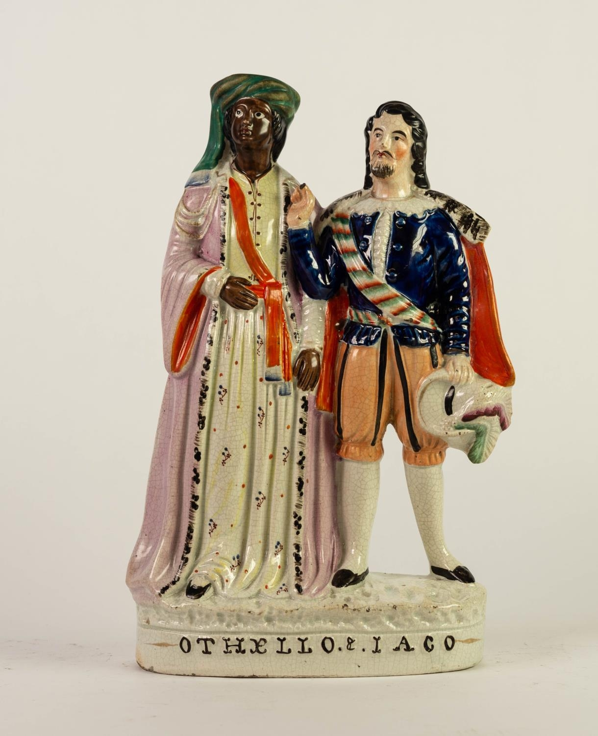 NINETEENTH CENTURY STAFFORDSHIRE FLAT BACK POTTERY GROUP OF ?OTHELLO & IAGO?, painted in colours and