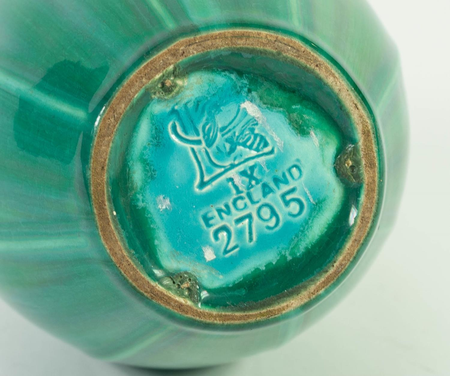 PILKINGTONS GREEN VEINED OPALESCENT GLAZED MOULDED POTTERY VASE, of ovoid form with slightly - Image 3 of 3