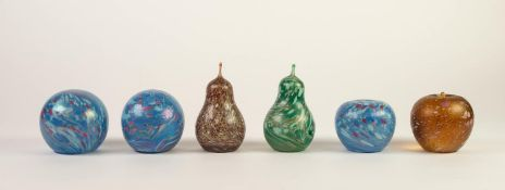 COLLECTION OF SIX MIDSUMMER MOTTLED GLASS PAPERWEIGHTS, including, TWO OF APPLE FORM and TWO OF PEAR