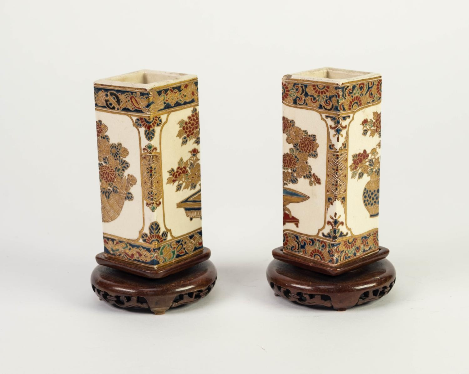 PAIR OF JAPANESE MEIJI PERIOD SATSUMA POTTERY SQUARE SECTION SMALL VASES, each painted with - Image 3 of 4