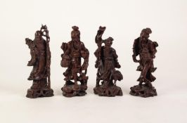 SET OF FOUR CHINESE LATE QING/REPUBLIC PERIOD WELL CARVED CHERRYWOOD IMMORTALS, 6 1/4in (16cm)