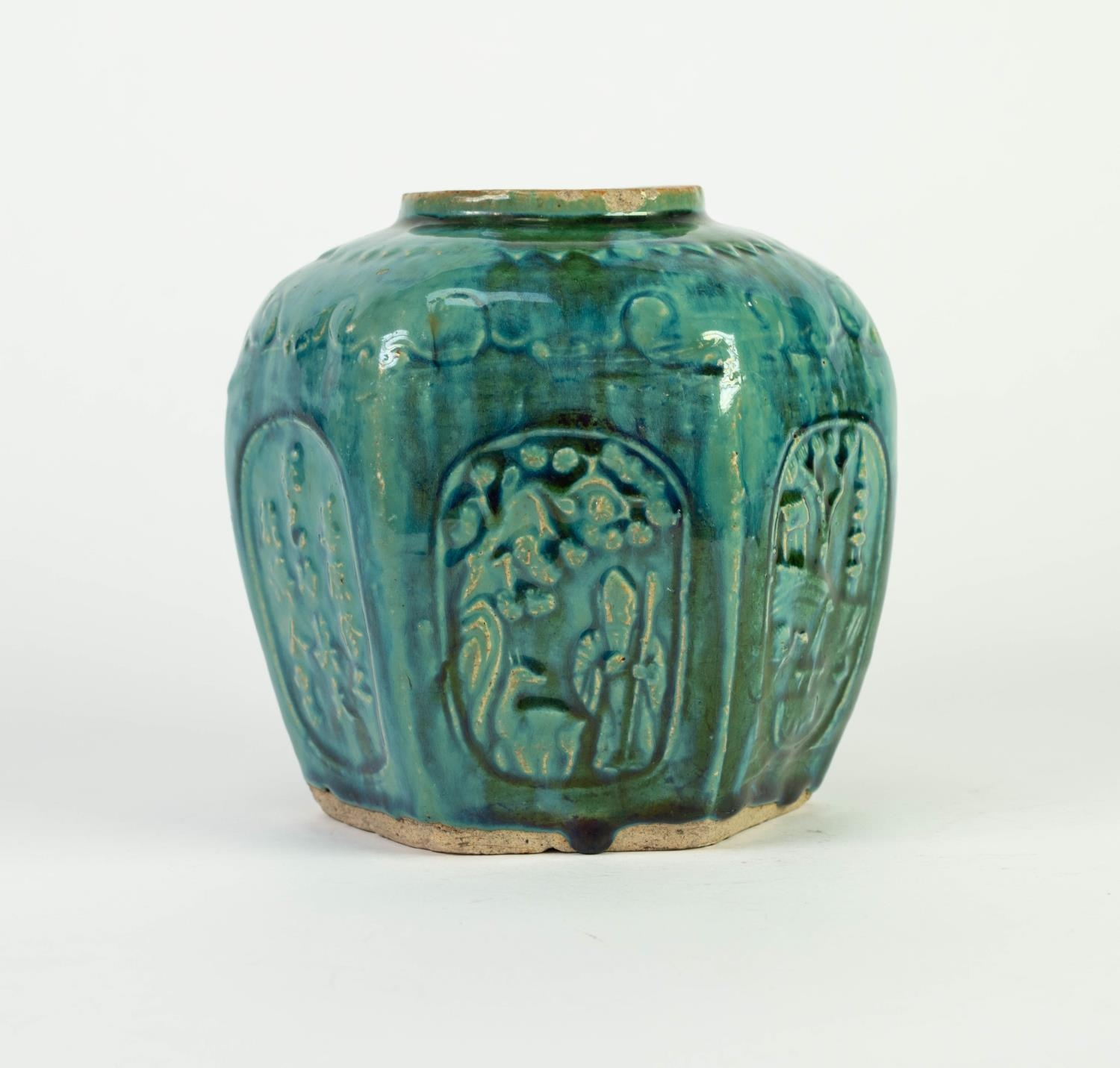 CHINESE PROVINCIAL WARE MOULDED POTTERY GINGER JAR, of hexagonal form, decorated with panels - Image 3 of 5