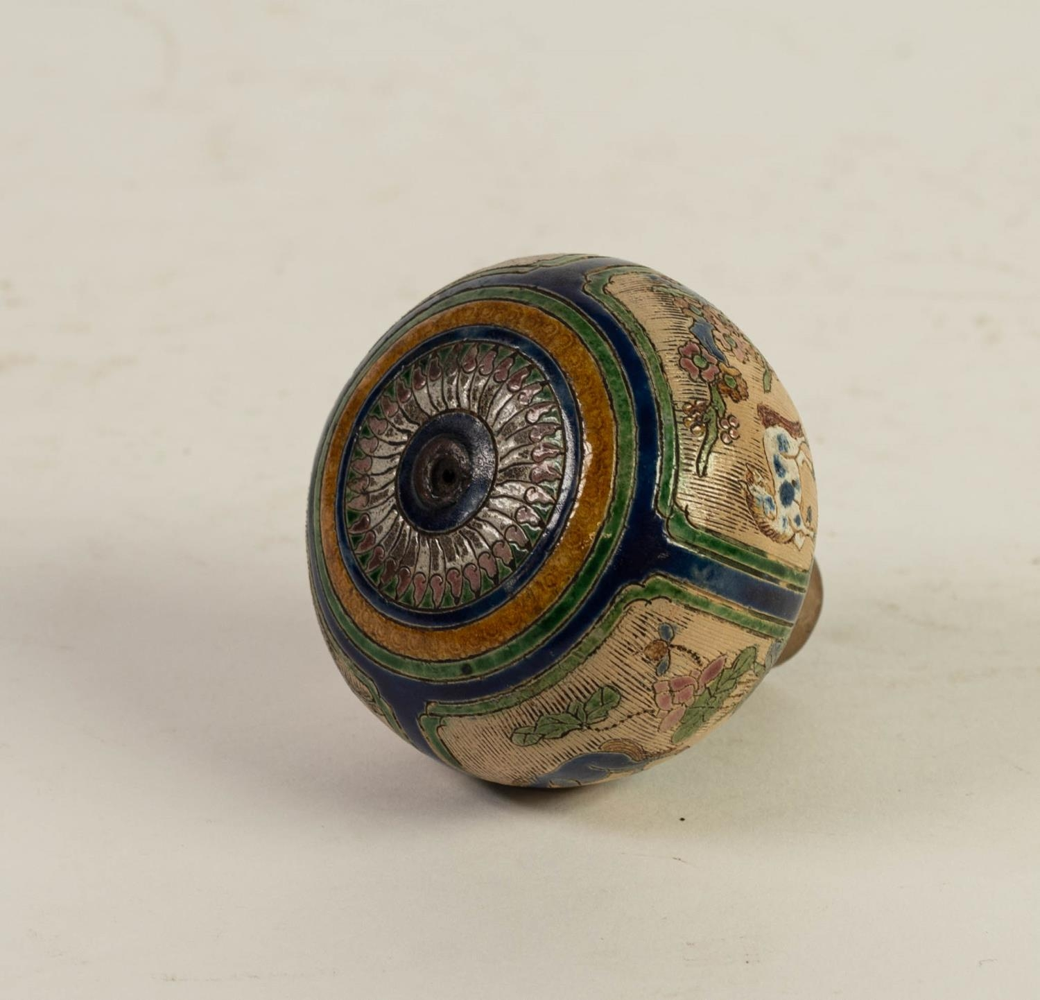 CHINESE QING DYNASTY PORCELANEOUS ORBICULAR KNOB OR FINIAL, incised and enamelled with four panels - Image 6 of 6