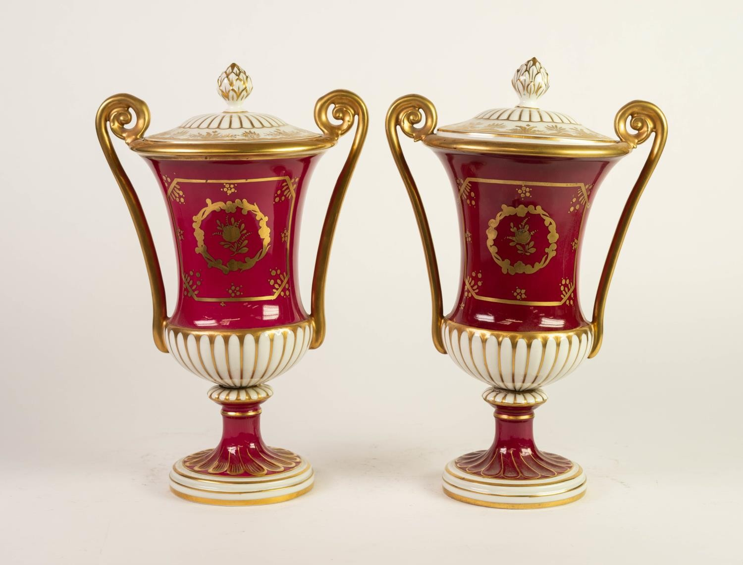 PAIR OF 20th CENTURY 'ORIGINAL DRESDEN' PORCELAIN TWO HANDLED CAMPANA SHAPE PEDESTAL VASES AND LOW - Image 2 of 3