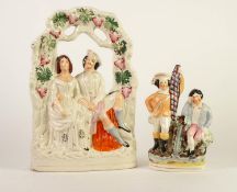 VICTORIAN STAFFORDSHIRE FLAT BACK LARGE ARBOUR GROUP, heightened in colours and modelled as a couple