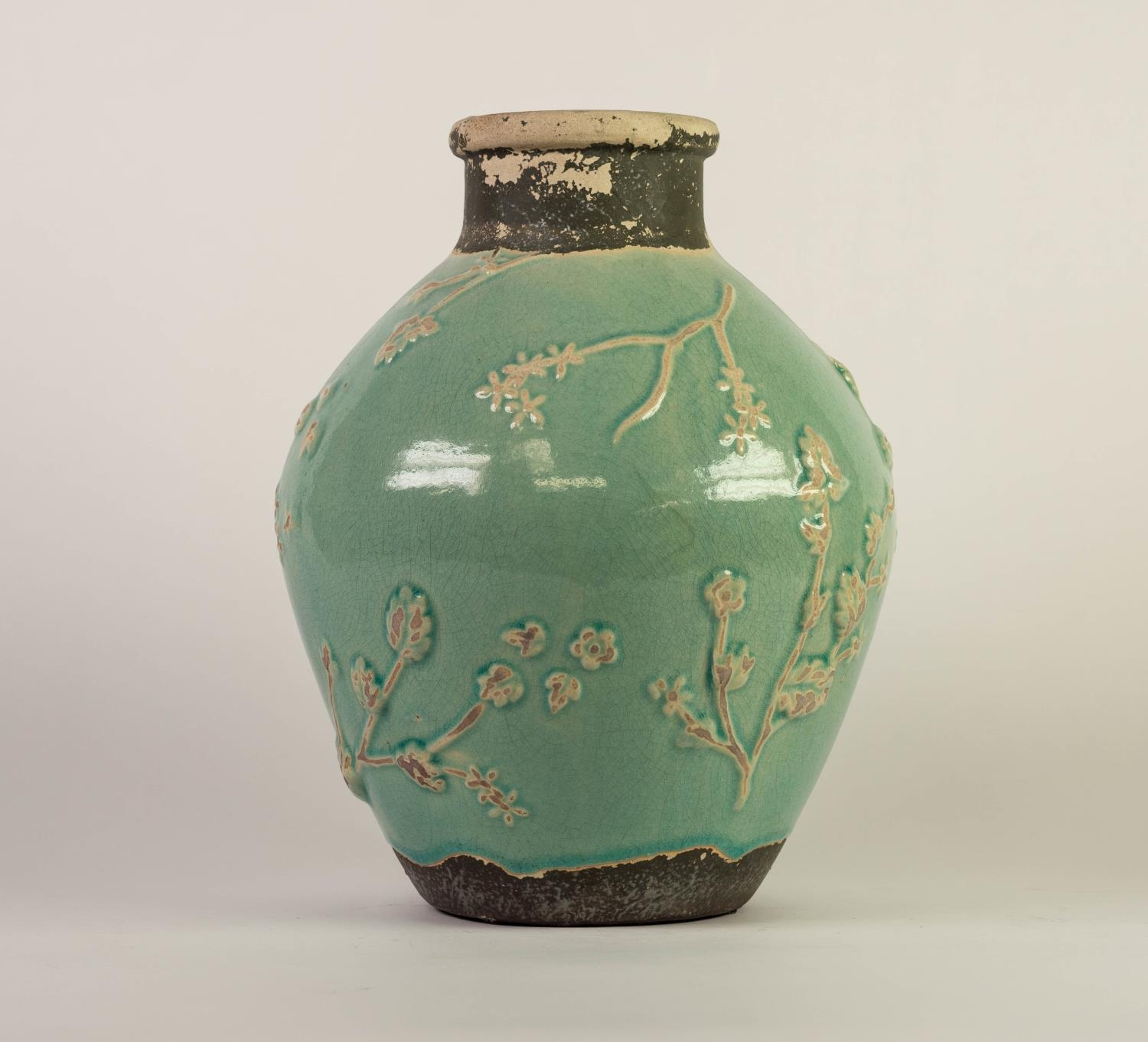 CHINESE PROVINCIAL WARE PORCELANEOUS OVOID VASE WITH SHORT CYLINDRICAL NECK, the principal body - Image 2 of 4