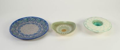 TWO PIECES OF ROYAL LANCASTRIAN LAPIS POTTERY BY GLADYS RODGERS, comprising: HAT SHAPED POSY