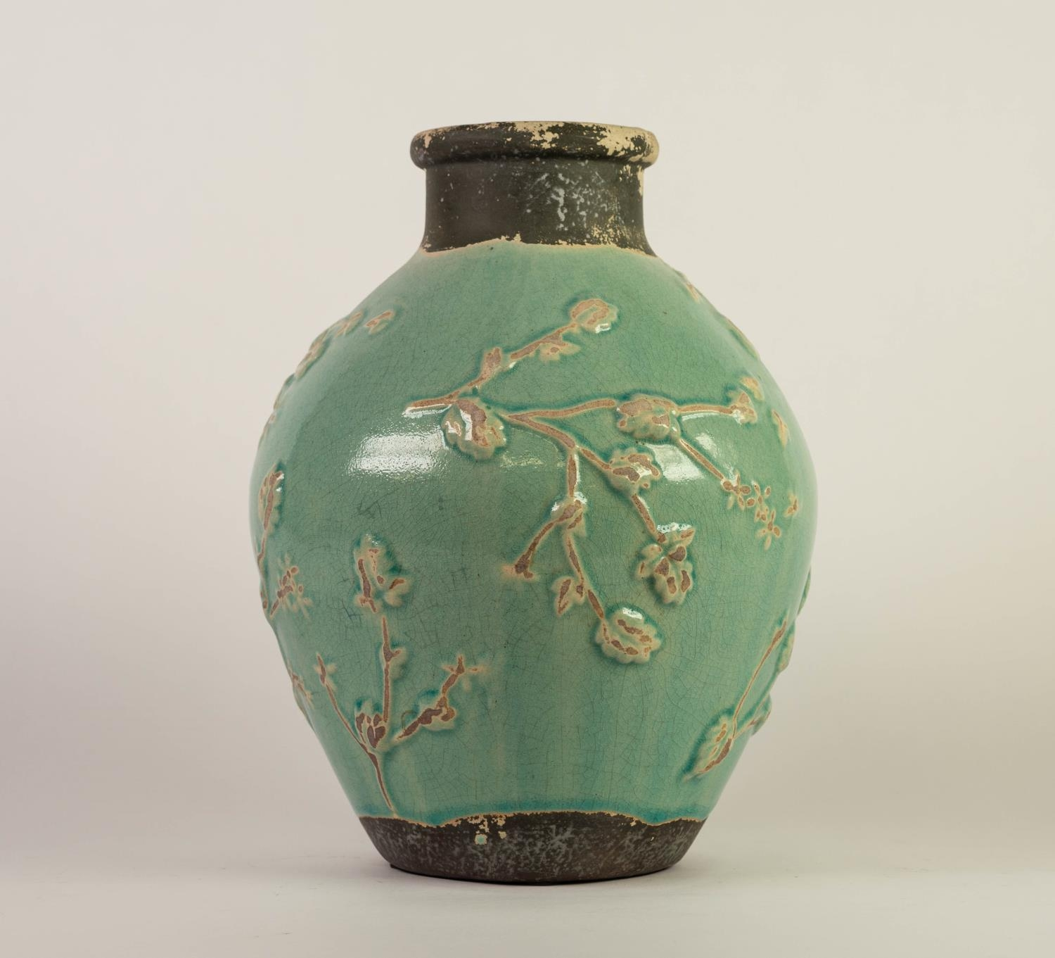 CHINESE PROVINCIAL WARE PORCELANEOUS OVOID VASE WITH SHORT CYLINDRICAL NECK, the principal body - Image 3 of 4