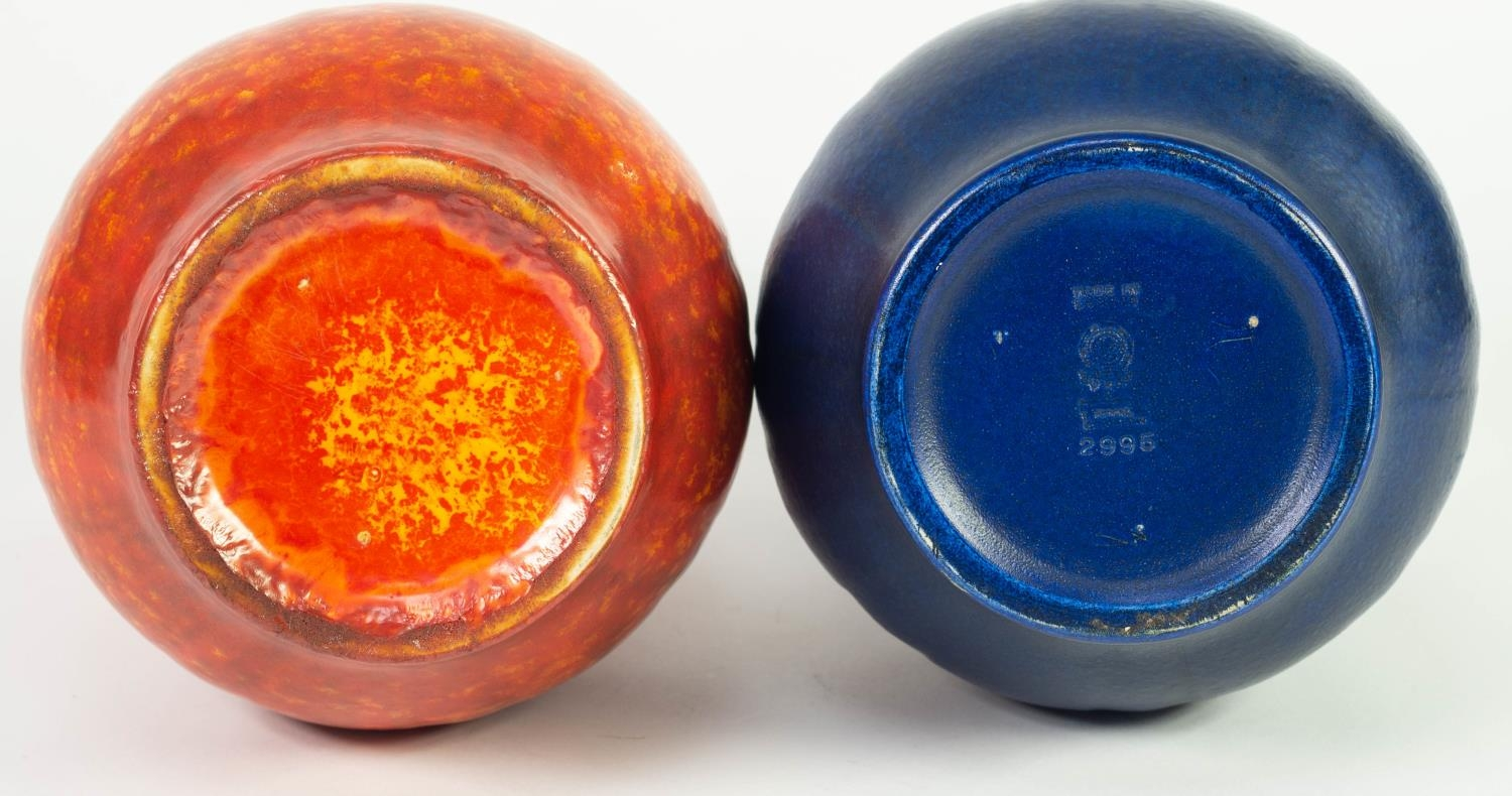 PAIR OF ROYAL LANCASTRIAN MOULDED POTTERY VASES IN DIFFERENT GLAZES, of baluster form with stiff - Image 2 of 2