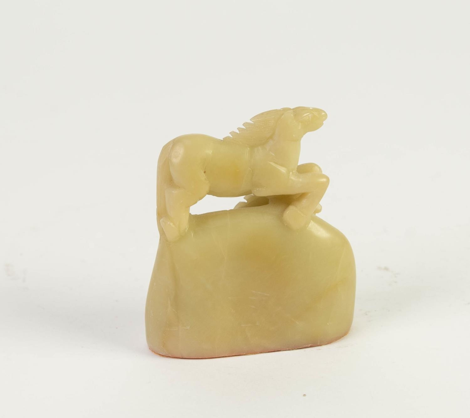 CHINESE PALE CELADON JADE CARVING OF TWO HORSES, 3in (7.5cm) high - Image 2 of 5