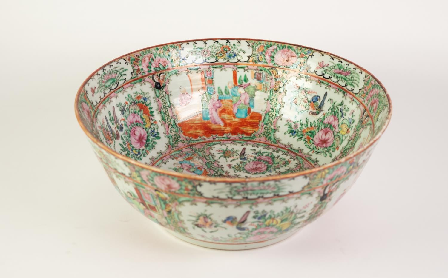 TWENTIETH CENTURY CHINESE FAMILLE ROSE PORCELAIN ROSE BOWL, of slightly flared, footed form, - Image 2 of 4