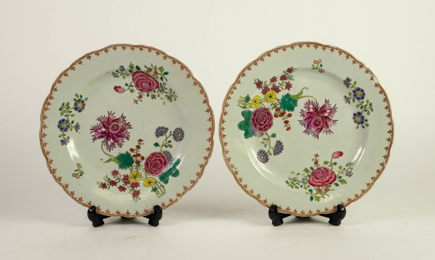 PAIR OF EIGHTEENTH CENTURY CHINESE FAMILLE ROSE PORCELAIN PLATES, each painted in colours with