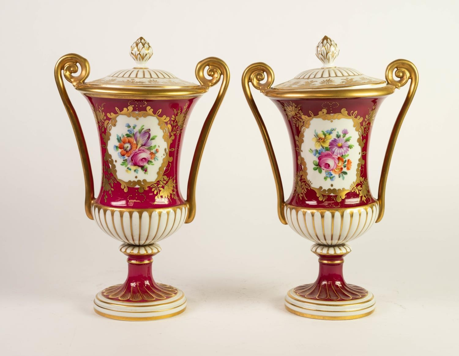 PAIR OF 20th CENTURY 'ORIGINAL DRESDEN' PORCELAIN TWO HANDLED CAMPANA SHAPE PEDESTAL VASES AND LOW