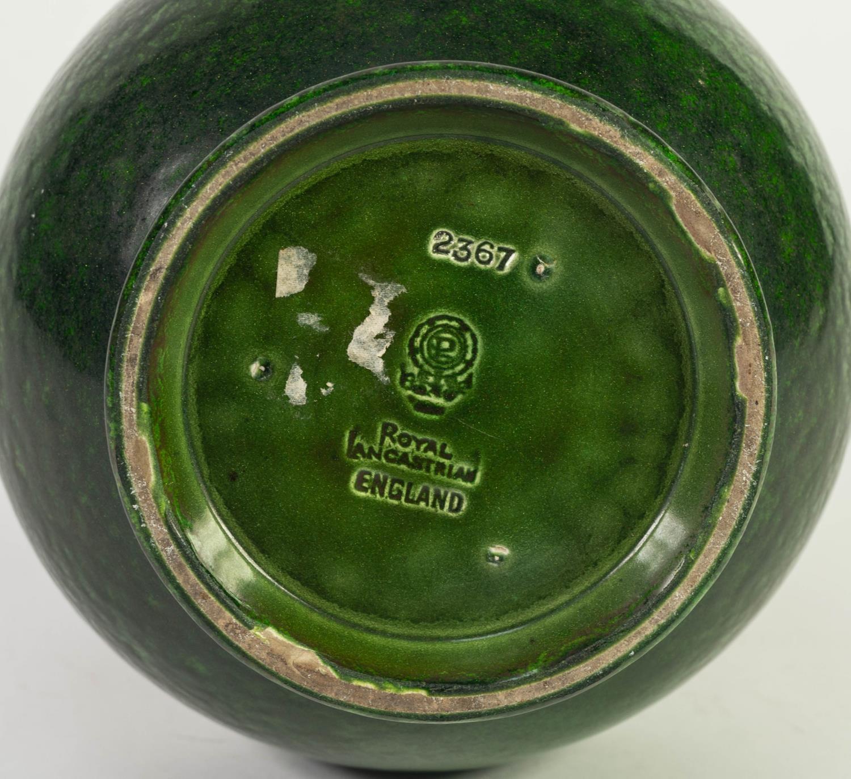 PILKINGTONS ROYAL LANCASTRIAN GREEN AVENTURINE GLAZED POTTERY VASE, of compressed form with - Image 4 of 4