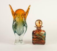 MDINA, MALTA, STUDIO GLASS OBLONG SECTION DECANTER AND GLOBULAR STOPPER, amber stained and trailed