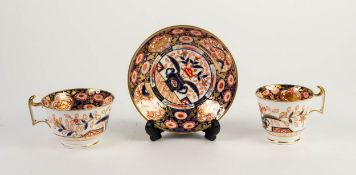 NINETEENTH CENTURY SPODE JAPAN PATTERN PORCELAIN TRIO, comprising: TEACUP, COFFEECUP and SAUCER,