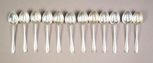 GEORGE V SET OF TWELVE SILVER COFFEE SPOONS WITH HEART SHAPED BOWLS BY THE ATKIN BROTHERS, Sheffield