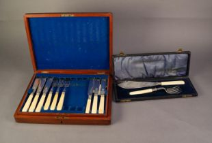 EDWARDIAN MAHOGANY CASED INCOMPLETE SET OF ELEVEN PLATED FISH KNIVES AND NINE FORKS, with bone