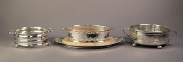TWO HANDLED ELECTROPLATED OVAL BREADBOARD WITH WOODEN INSERT and beaded border, together with