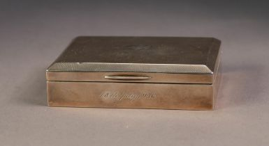 GEORGE VI PRESENTATION SILVER CLAD SMALL TABLE CIGARETTE BOX, of typical for with chamfered edge