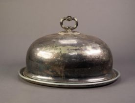 ELECTROPLATE LARGE OVAL MEAT DOME, with loop handle surmounting, egg and dart border, with wall
