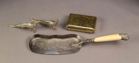 VICTORIAN ELECTROPLATED CRUMB SCOOP, with mounted bon handle, together with a PAIR OF SILVER