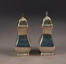 GEORGE V PAIR OF SILVER PEPPERETTES, of square baluster form, 3 ¼? (8.2cm) high, Birmingham 1922,