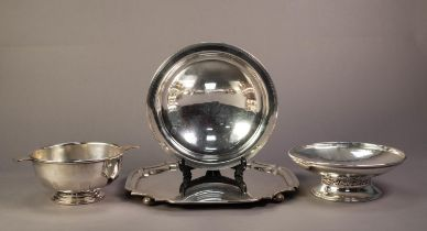 PLANISHED SILVER ON COPPER FOOTED DISH, of shallow form with pierced floral border to the stem,