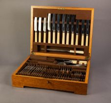 FORTY FIVE PIECE ELKINGTON PART CANTEEN OF STAINLESS STEEL CUTLERY, originally for six persons,