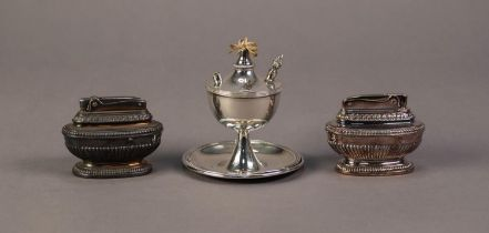 MAPPIN AND WEBB , 'PRINCES PLATE' URN SHAPED TABLE LIGHTER, with conical stem on saucer shaped base,