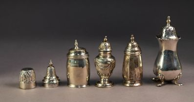 FIVE EDWARD VII AND LATER SILVER SMALL PEPPPERETTES, including a panelled example stamped for