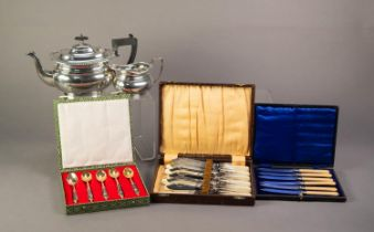 SMALL, MIXED LOT OF ELECTROPLATE, comprising: ROUNDED OBLONG TEAPOT with gadrooned border and